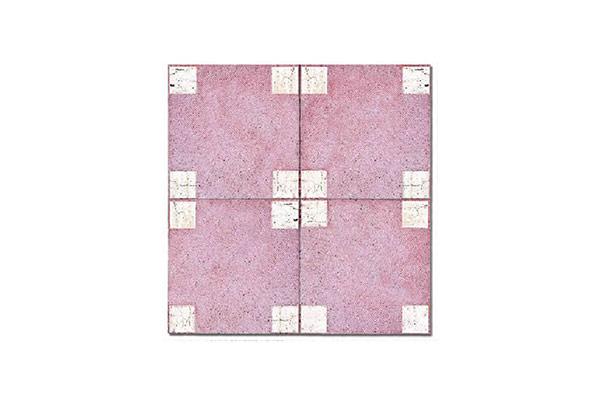 Composizione-pavimento-vulcanico-inserto-tozzetto-marmo-travert-fondo-rosso