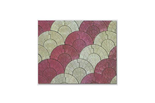 Composizione-pavimento-autobloccante-coda-di-pavone-rosso-e-grigio
