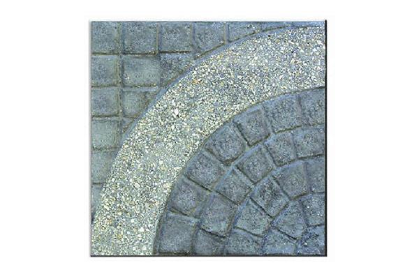 Pavimento-porfido-naturale-cerchio-grande-singolo-largo-graniglia-avorioa-fondo-antracite
